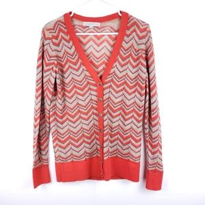 55bc60dac7071f Loft Chevron Knit Orange Cartigan Size Small